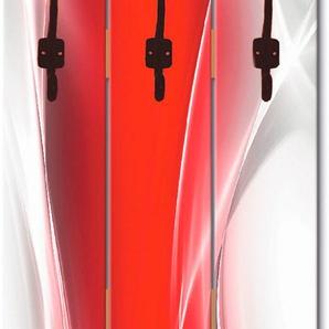 Artland Garderobenpaneel Kreatives Element Rot für Ihr Art-Design, platzsparende Wandgarderobe aus Holz mit 5 Haken, geeignet kleinen, schmalen Flur, Flurgarderobe B/H: 45 cm x 140 rot Garderobenpaneele Garderoben