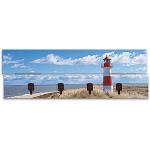 Artland Garderobenpaneel Leuchtturm Sylt, platzsparende Wandgarderobe aus Holz mit 4 Haken, geeignet für kleinen, schmalen Flur, Flurgarderobe B/H/T: 90 cm x 30 2,8 blau Garderobenpaneele Garderoben