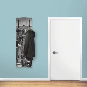 Artland Garderobenpaneel Luftbild von Manhattan New York City USA, platzsparende Wandgarderobe aus Holz mit 4 Haken, geeignet für kleinen, schmalen Flur, Flurgarderobe B/H/T: 45 cm x 140 2,8 schwarz Garderobenpaneele Garderoben
