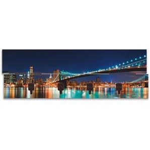 Artland Garderobenpaneel New York Skyline Brooklyn Bridge, platzsparende Wandgarderobe aus Holz mit 4 Haken, geeignet für kleinen, schmalen Flur, Flurgarderobe B/H/T: 90 cm x 30 2,8 blau Garderobenpaneele Garderoben