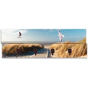 Artland Garderobenpaneel Nordseestrand auf Langeoog mit Möwen, platzsparende Wandgarderobe aus Holz 4 Haken, geeignet für kleinen, schmalen Flur, Flurgarderobe B/H/T: 90 cm x 30 2,8 blau Garderobenpaneele Garderoben