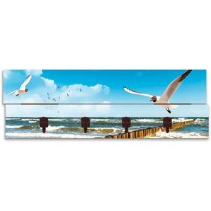 Artland Garderobenpaneel Ostsee, platzsparende Wandgarderobe aus Holz mit 4 Haken, geeignet für kleinen, schmalen Flur, Flurgarderobe B/H/T: 90 cm x 30 2,8 blau Garderobenpaneele Garderoben