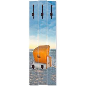 Artland Garderobenpaneel Ostsee7 - Strandkorb, platzsparende Wandgarderobe aus Holz mit 5 Haken, geeignet für kleinen, schmalen Flur, Flurgarderobe B/H/T: 45 cm x 140 2,8 blau Garderobenpaneele Garderoben