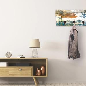 Artland Garderobenpaneel Retro Verzierungen in blau und orange, platzsparende Wandgarderobe aus Holz mit 4 Haken, geeignet für kleinen, schmalen Flur, Flurgarderobe B/H/T: 90 cm x 30 2,8 Garderobenpaneele Garderoben