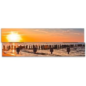 Artland Garderobenpaneel Schöner Sonnenuntergang am Strand, platzsparende Wandgarderobe aus Holz mit 4 Haken, geeignet für kleinen, schmalen Flur, Flurgarderobe B/H/T: 90 cm x 30 2,8 orange Garderobenpaneele Garderoben