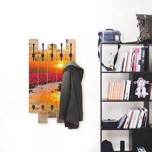Artland Garderobenpaneel Sonnenschein blühende Lotusblume, platzsparende Wandgarderobe aus Holz mit 8 Haken, geeignet für kleinen, schmalen Flur, Flurgarderobe B/H/T: 63 cm x 114 2,8 orange Garderobenpaneele Garderoben