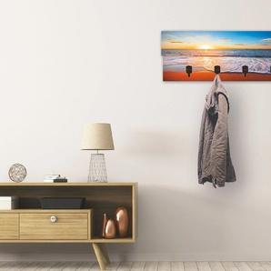 Artland Garderobenpaneel Sonnenuntergang und das Meer, platzsparende Wandgarderobe aus Holz mit 4 Haken, geeignet für kleinen, schmalen Flur, Flurgarderobe B/H/T: 90 cm x 30 2,8 blau Garderobenpaneele Garderoben