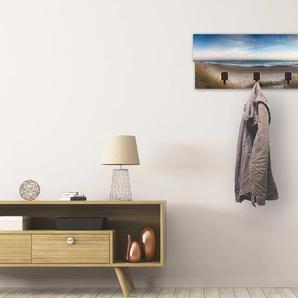 Artland Garderobenpaneel Strand und Sanddünen am Hengistbury Head, platzsparende Wandgarderobe aus Holz mit 4 Haken, geeignet für kleinen, schmalen Flur, Flurgarderobe B/H/T: 90 cm x 30 2,8 blau Garderobenpaneele Garderoben