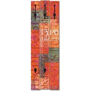 Artland Garderobenpaneel Typograf, platzsparende Wandgarderobe aus Holz mit 5 Haken, geeignet für kleinen, schmalen Flur, Flurgarderobe B/H/T: 45 cm x 140 2,8 rot Garderobenpaneele Garderoben