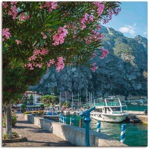 Artland Wandbild Gardasee Hafen Limone sul Garda, Europa, (1 St.), in vielen Größen & Produktarten - Alubild / Outdoorbild für den Außenbereich, Leinwandbild, Poster, Wandaufkleber Wandtattoo auch Badezimmer geeignet B/H: 50 cm x cm, Leinwandbild bunt