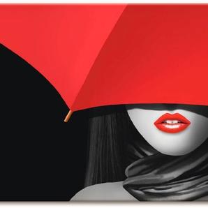 Artland Wandbild Rote Lippen unter dem Regenschirm, Frau, (1 St.), in vielen Größen & Produktarten - Alubild / Outdoorbild für den Außenbereich, Leinwandbild, Poster, Wandaufkleber Wandtattoo auch Badezimmer geeignet B/H: 150 cm x 75 cm, Leinwandbild rot