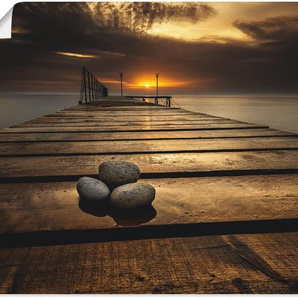 Artland Wandbild Sonnenaufgang am Schwarzen Meer, & -untergang, (1 St.), in vielen Größen Produktarten - Alubild / Outdoorbild für den Außenbereich, Leinwandbild, Poster, Wandaufkleber Wandtattoo auch Badezimmer geeignet B/H: 120 cm x 90 cm, Poster braun