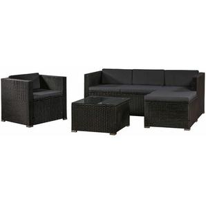 ArtLife Polyrattan Lounge Sitzgarnitur Punta Cana L schwarz mit Bezügen in Dunkelgrau