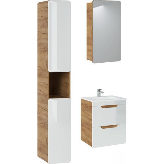 Aruna SET 50 Badezimmerset Weiß Hochglanz   Eiche