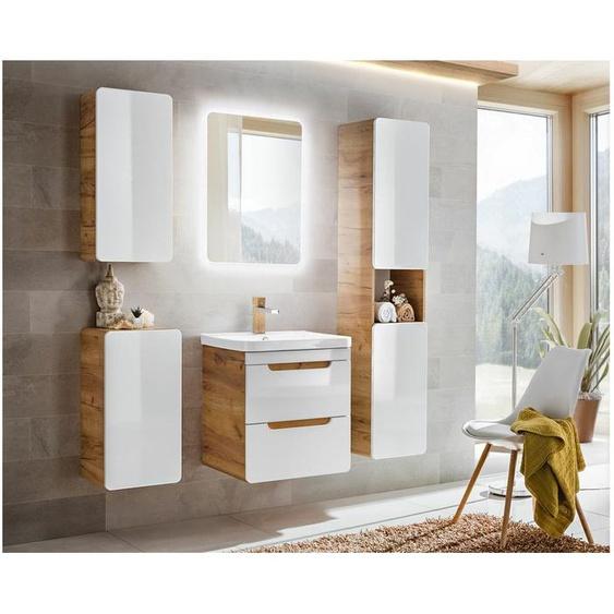 Aruna SET 60 cm Badezimmerset Weiß Hochglanz   Eiche