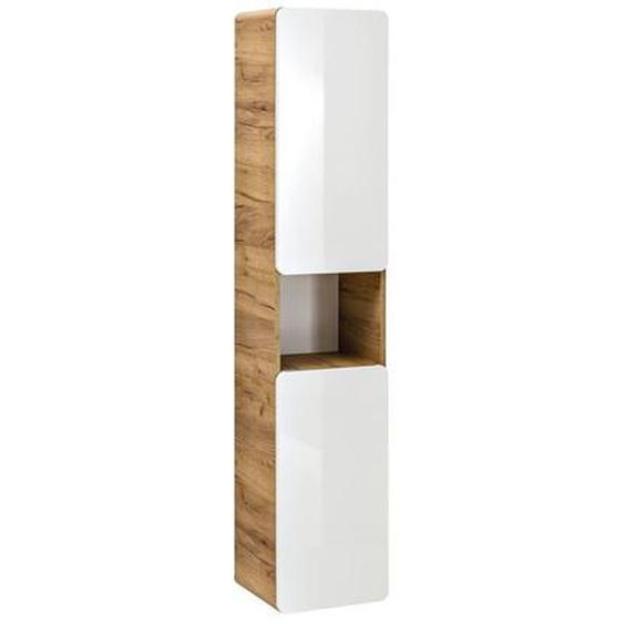Aruna SET 60 cm UNIVERSAL Badezimmerset Weiß Hochglanz   Eiche