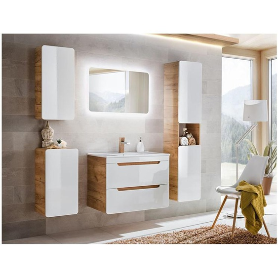 Aruna SET 80 cm Badezimmerset Weiß Hochglanz   Eiche