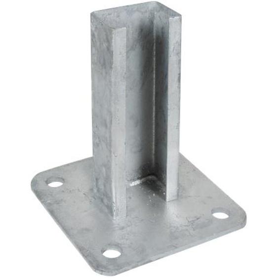 Arvotec Bodenplatte verzinkt 12,5 x 12,5 cm, für Systempfosten 6 x 4 cm