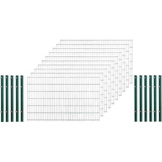 Arvotec Doppelstabmattenzaun, 123 cm hoch, 10 Matten für 20 m, 11 Pfosten H/L: x 2 m grün Zaunelemente Zäune Garten Balkon Doppelstabmattenzaun