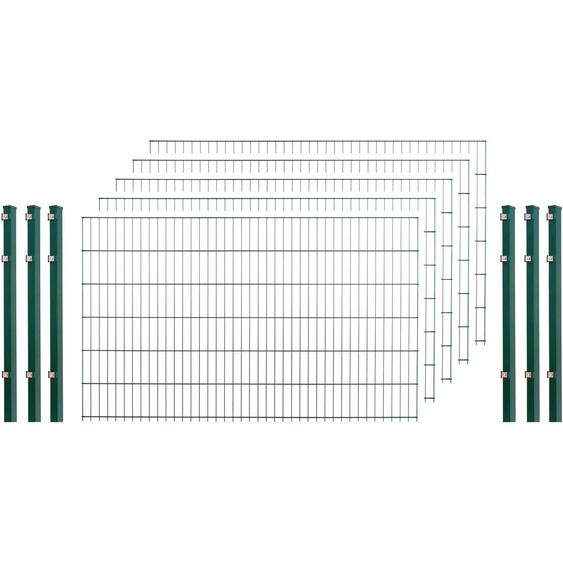 Arvotec Doppelstabmattenzaun, 5 Stk., LxH: 10x1,2 m, grün H/L: 120 cm x 10 m Zaunelemente Zäune Garten Balkon Doppelstabmattenzaun