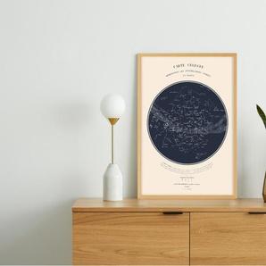 Celestial Carte du Ciel, gerahmter Kunstdruck (A2), Marineblau