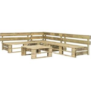 4-Tlg. Garten-Sofagarnitur Aus Paletten Holz