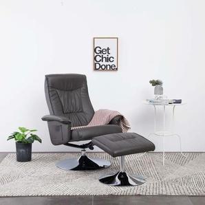 Sessel mit Fuhocker Grau Kunstleder