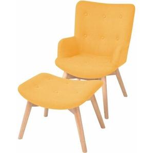 Sessel mit Fuhocker Stoff Gelb