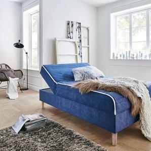 ATLANTIC home collection Boxbett Sababa, mit Bettkasten Struktur (100% Polyester), Liegefläche B/L: 120 cm x 200 cm, Gewicht bis: 90 kg H2, Visco-Matratze blau Betten Möbel Aufbauservice