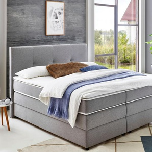 Atlantic Home Collection Boxspringbetten, grau, inkl. Topper
