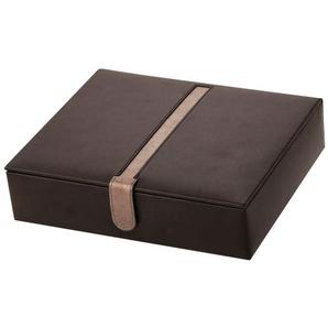 Aufbewahrungsbox aus Lederfaserstoff mit Farbakzent