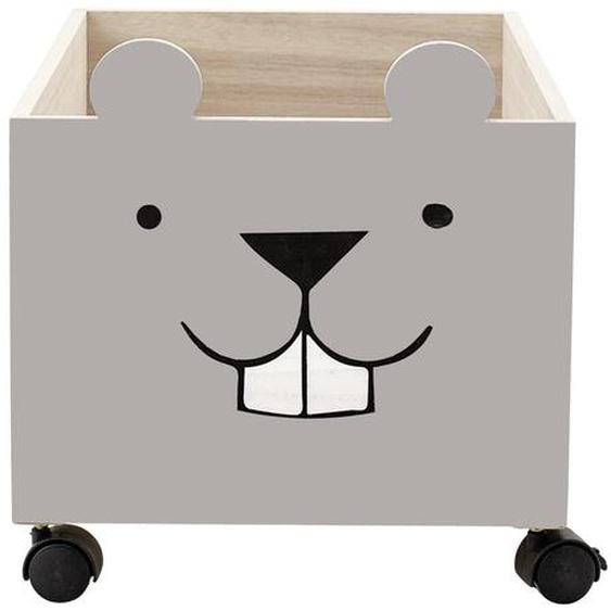 Aufbewahrungsbox Elene aus Holz in Braun und Grau 50 x 31 x 35 cm