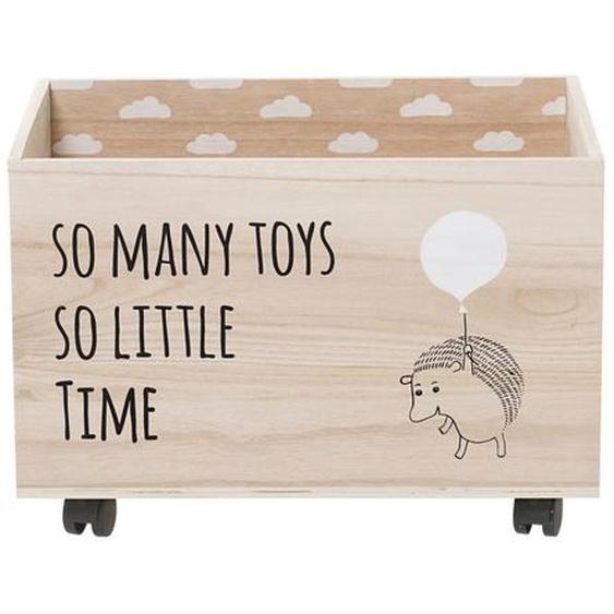 Aufbewahrungsbox Igel mit Rädern aus Holz in Braun 50 x 35 x 35 cm