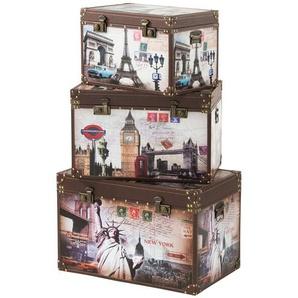 Aufbewahrungsboxen, 3er-Set   Citys ¦ mehrfarbig ¦ Maße (cm): B: 70 H: 44 T: 45 Aufbewahrung  Truhen & Kisten - Höffner