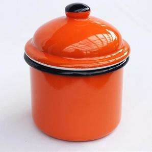 Aufbewahrungsdose 501Z Dose 15 cm emailliert Vintage Landhaus Mehlbüchse Emaille / Farbe: Orange