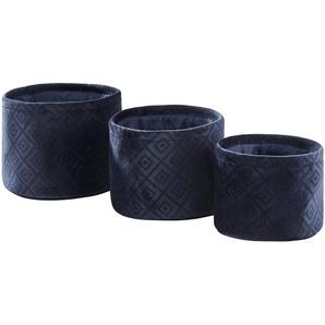 Aufbewahrungskörbe, 3er-Set ¦ blau ¦ Samt ¦ Maße (cm): H: 16 Ø: 22 Aufbewahrung  Körbe - Höffner