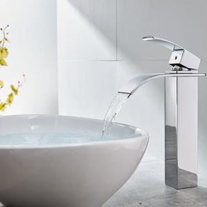 Wasserhahnn Bad Design verlängerte Einhebel | Waschtischarmatur Armatur Wasserfall | Einhandmischer für Badzimmer - AURALUM