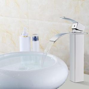Wasserhahnn Bad Design verlängerte Einhebel Waschtischarmatur Armatur Wasserfall Einhandmischer für Badzimmer - AURALUM