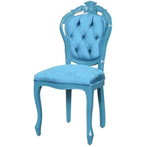 Ausgefallener Stuhl im Barockstil Türkis Samt