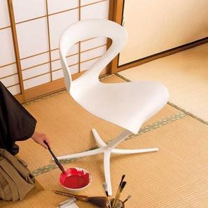 Ausgefallener Stuhl in Weiß aus Aluminium geschwungen