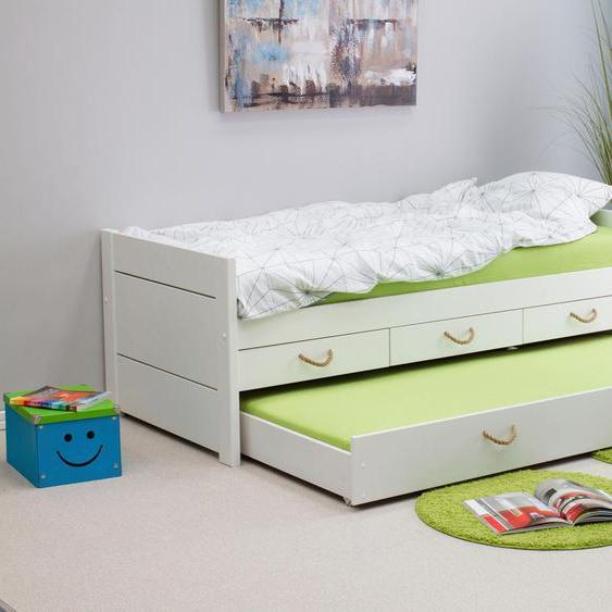 Ausziehbett »Tom«, 98x208x72 cm (BxLxH), FSC®-zertifiziert, , weiß, Material Kiefer