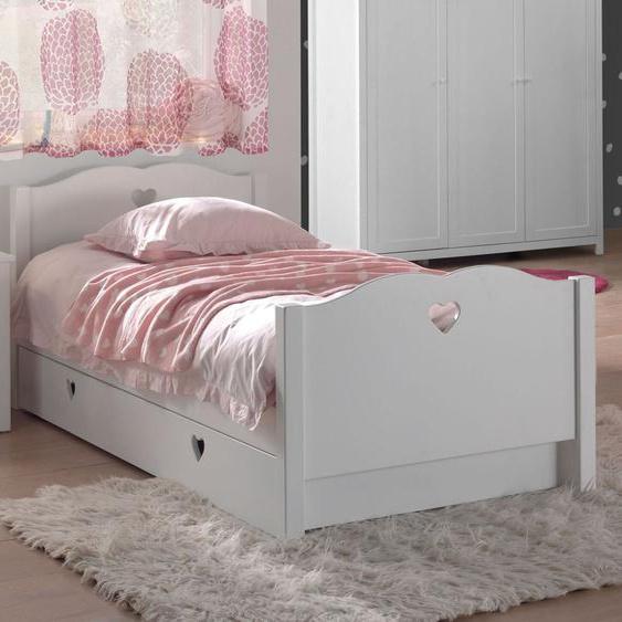 Ausziehbett Asami, weiß, 90x200 cm, mit Nachttisch