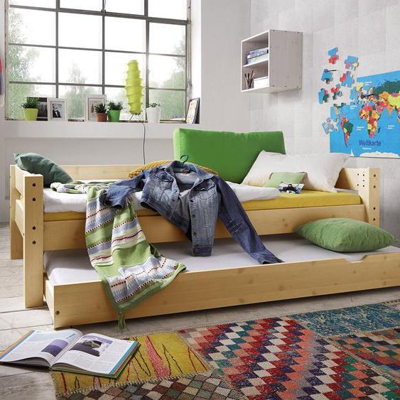Ausziehbett Kids Dreams, weiß mit Holzstruktur, 90x200 cm