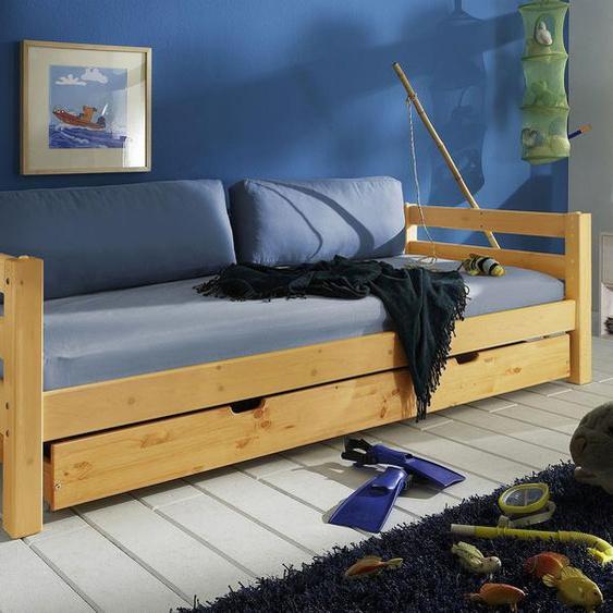 Ausziehbett Kids Paradise, weiß mit Holzstruktur, 90x200 cm