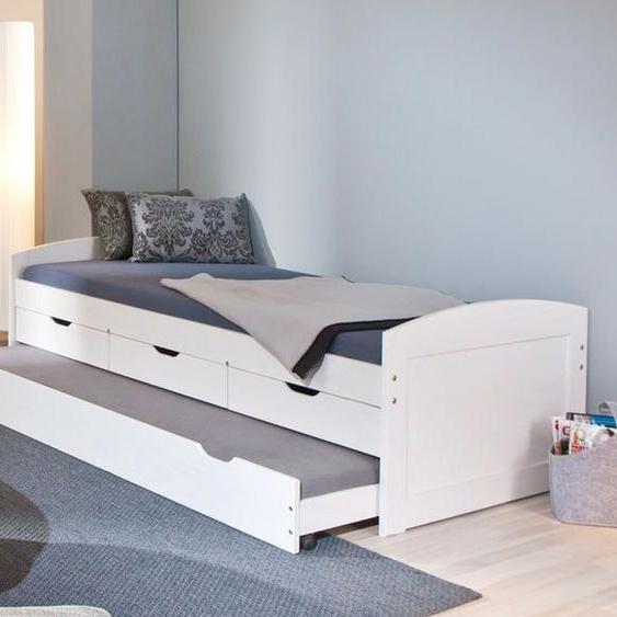 Ausziehbett Leon, weiß mit Holzstruktur, 90x200 cm