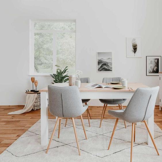 Auszugstisch in Weiß mit Tischplatte in Eiche Nachbildung, 1 Auszugsplatte, hochwertiger Synchronauszug, B/H/T ca. 160-215/75//90 cm