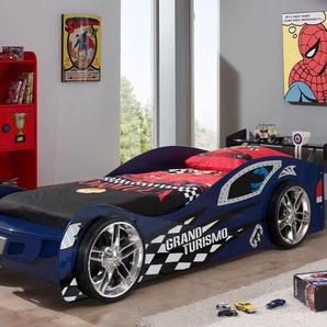 Autobett für Kinder in 90x200 cm mit Spoiler und Felgen - Hero blau