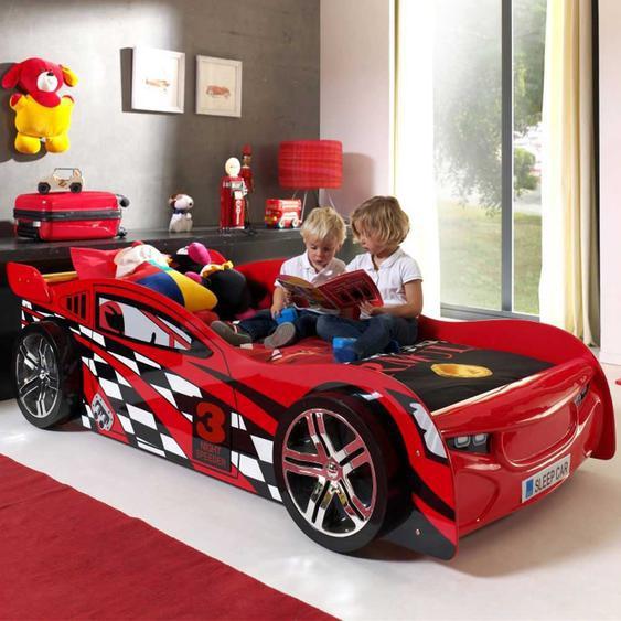 Autobett in Rot Jungen