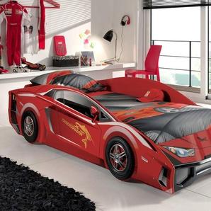 Autobett 90x200 cm mit 3D-Effekt-Lackierung - Match rot