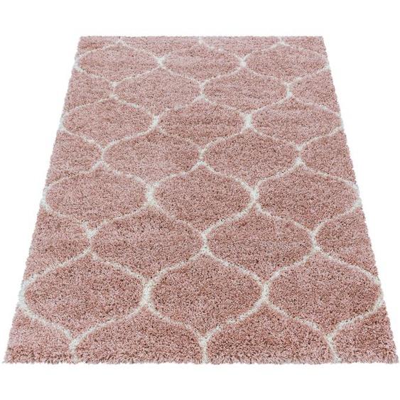 Ayyildiz Hochflor-Teppich SALSA 3201, rechteckig, 50 mm Höhe, Wohnzimmer B/L: 240 cm x 340 cm, 1 St. rosa Esszimmerteppiche Teppiche nach Räumen
